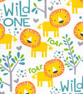 Snuggle Flannel Fabric 42\u0027\u0027-Wild One & Lions