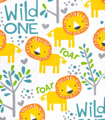 Snuggle Flannel Fabric 42''-Wild One & Lions