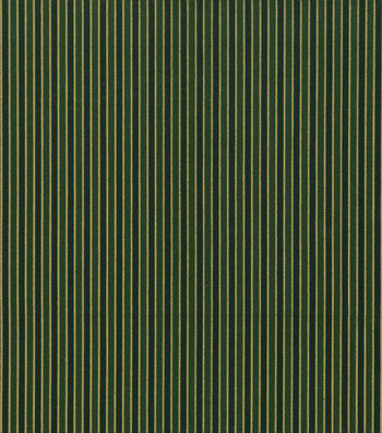 "Keepsake Calico™ Holiday Cotton Fabric 43""-Metallic Gold Stripe on Green"