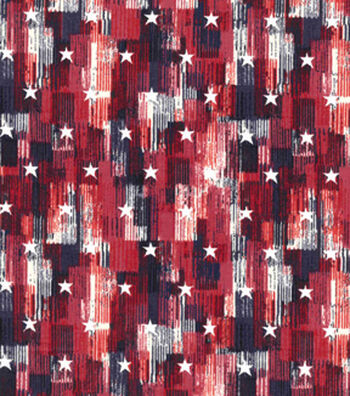 Patriotic Cotton Fabric 43''-Red Brush Stroke & Stars