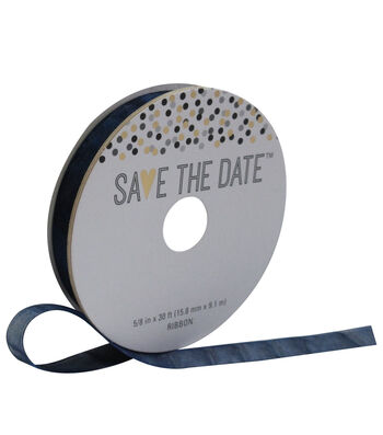 Save the Date 5/8'' X 30' Ribbon-Navy Sheer