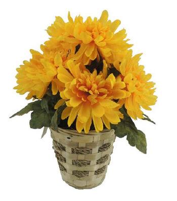 Blooming Autumn 14'' Mum Basket-Yellow
