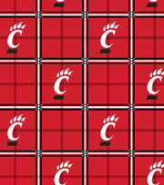 "University of Cincinnati Bearcats Flannel Fabric 42""-Plaid, , hi-res"