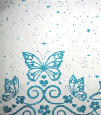"Glitterbug Organza Fabric 58""-Butterfly Border with Glitter"