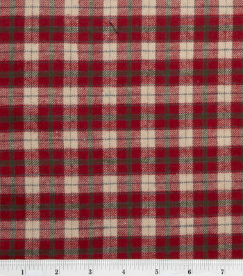 "Fashion Flannel Shirting Fabric 41""-Red and Beige"