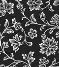 Snuggle Flannel Fabric 42\u0022-Black Floral Vines