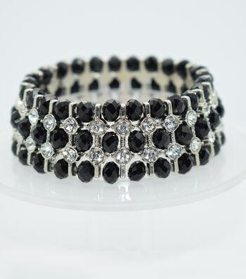 Glass Beads Spacer Bracelet-Black