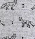 Luxe Flannel Fabric 42\u0022-Fox On Gray Heather