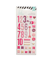 Heidi Swapp 36 Pack Puffy Number Stickers-Pink, , hi-res