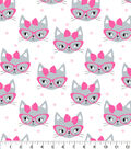 Novelty Cotton Fabric 43\u0022-Grey Cats With Pink Glasses