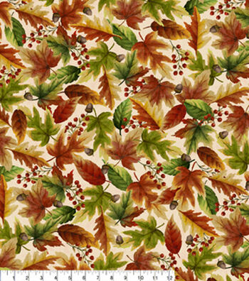 """Harvest Cotton Fabric 43""""-Watercolor Leaves"""