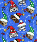 Keepsake Calico Holiday Cotton Fabric 44\u0022-Christmas Dogs Glitter