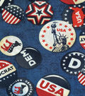 Patriotic Fabric-Democrat Buttons Blue