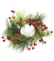 Blooming Holiday Christmas 3.25'' Pine with Berry Mini Wreath, , hi-res