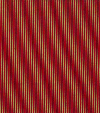 "Keepsake Calico™ Holiday Cotton Fabric 43""-Metallic Gold Stripe on Red"