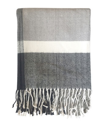Maker's Holiday Christmas Throw-Gray & White Stripe