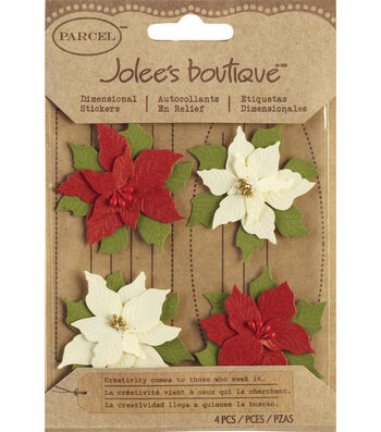 Jolee's Boutique Christmas Stickers-Poinsettias
