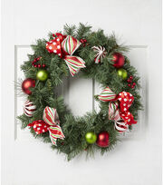 Blooming Holiday Christmas 24'' Ribbon, Ornaments, Pine & Berry Wreath, , hi-res