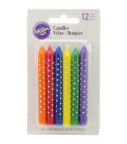 Wilton® Candles 12/Pkg-Multicolor W/White Dots, , hi-res