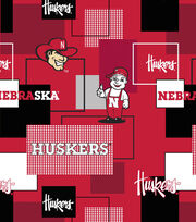 University of Nebraska Cornhuskers Cotton Fabric 43''-Modern Block, , hi-res