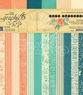 Graphic 45 Double-Sided Paper Pad 12\u0022X12\u0022-Cafe Parisian Print & Solid