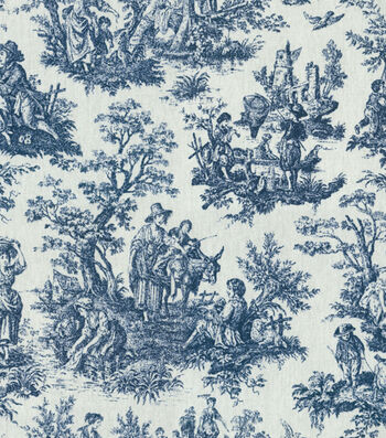 "Waverly Upholstery Fabric 54""-Rustic Toile Navy"