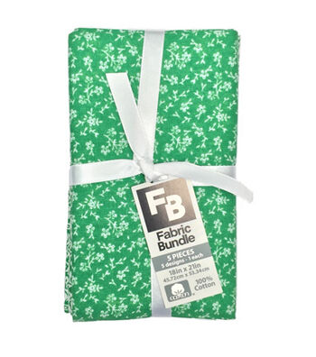 Fat Quarter Bundle Cotton Fabric 5 Pack 18''-Assorted Patterns On Green
