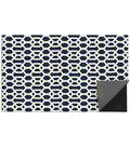 5x7\u0027 Ruggable 2pc Washable Rug System-Hexagon Fretwork Navy Blue  & White
