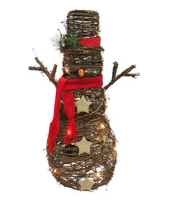 Maker's Holiday Christmas Rattan Snowman with Scarf-Brown & Red