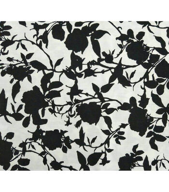 Amaretto Linen Fabric 57''-Black Flowers on White