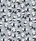 Novelty Cotton Fabric 44\u0022-Playful Pandas On Gray