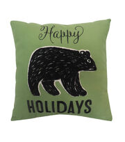 Maker's Holiday Christmas Pillow-Black Bear & Happy Holidays, , hi-res
