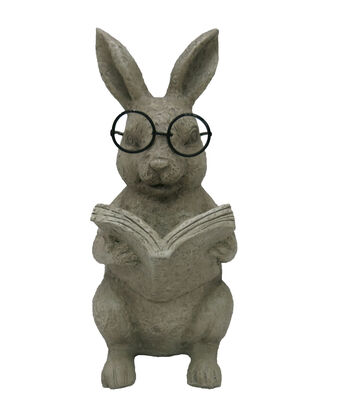 Hello Spring Gardening Resin Reading Rabbit-Natural