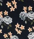 Modern Vintage Chiffon Fabric 57\u0027\u0027-Ivory & Peach Floral on Black