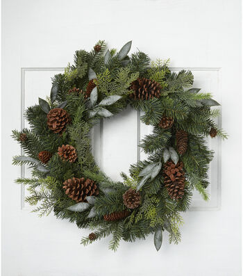 Blooming Holiday Christmas Pine, Pinecone & Mixed Greenery Wreath-Green