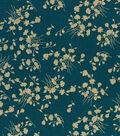 Buttercream Stella Cotton Fabric-Bc St Ditsy Floral Vine Metallic
