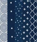 Fat Quarter Bundle Cotton Fabric 5-Pieces 18\u0027\u0027-Floral on Navy