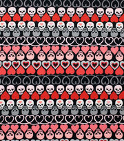 "Alexander Henry Cotton Fabric 44""-Hearts and Bones Black, , hi-res"