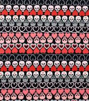 "Alexander Henry Cotton Fabric 44""-Hearts and Bones Black, , hi-res"