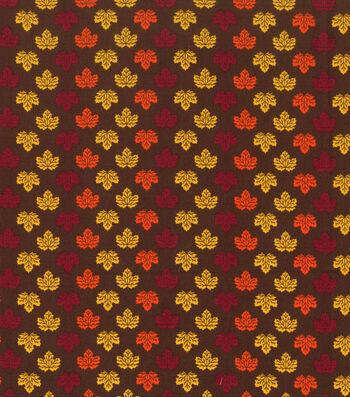 "Harvest Cotton Fabric 43""-Mini Leaves Brown"