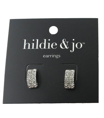 hildie & jo™ 0.5''x0.25'' Rectangle Silver Earrings-Crystals
