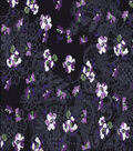 Silky Prints - Rayon Floral Lace Black Purple