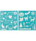 Martha Stewart Medium Stencils 2 Sheets/Pk-Holiday Icons