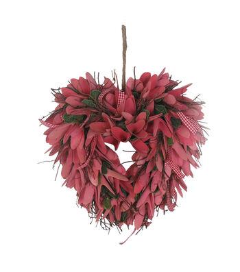 Valentine's Day Wood Chip Heart Wreath-Pink