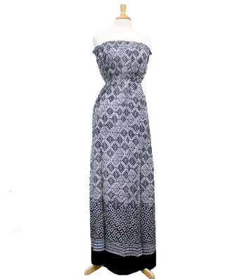 """Style In An Instant 53"""" Blouson Dress Rayon Ethnic Black/White"""