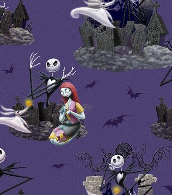 "Halloween Cotton Fabric 43""-Nightmare Before Xmas Scenic"