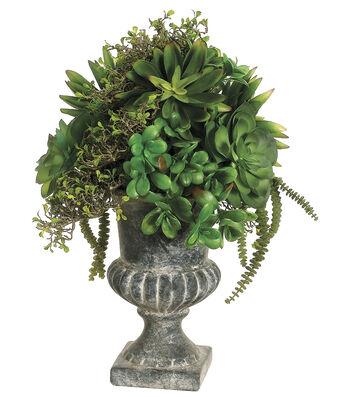 Bloom Room Luxe 21'' Succulents In Urn-Green