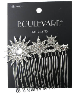 hildie & jo™ Boulevard Silver Hair Comb-Stars with Clear Crystals