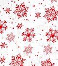 Glitterbug Organza Fabric 57\u0022-Foil Snowflakes Red
