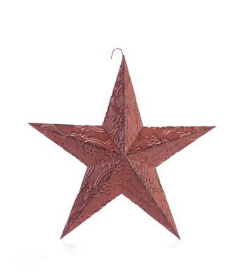 Americana Patriotic 12'' Metal Embossed Star-Red